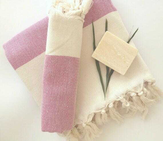 Set of Turkish Bath Towel and Head Towel: Handwoven Peshtemal and Peshkir, Hammam towel, spa, yoga towel, beach towel, Pink