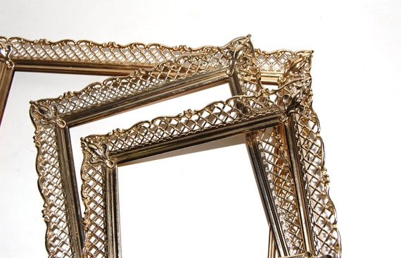 RESERVED for DANA - Brass Lattice Frames - 2 Vintage Chalkboard Frames - Gold Lace Frames - Wedding SIGN -  Shabby Chic -