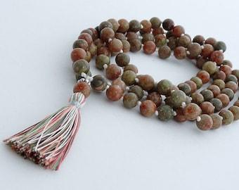 Hand knotted 8mm Automn jasper 108 beads buddhist mala