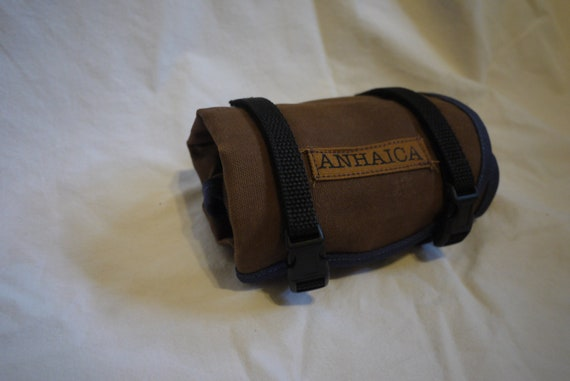 Waxed Canvas Bicycle Accessory Tool Roll, Brown and Blue, Tool Pouch, Bicycle Saddle bag