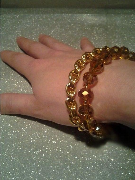 Bracelet Golden Briolette Beads Friendship Power Stretchy Stacker Scene Rave Boho Bohemian Hippy Hippie Sparkle Shiny Twilight Gift Present