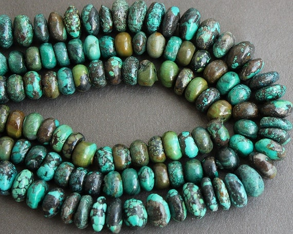 Large Turquoise Rondelle Beads 10x6mm HALF STRAND (7 Inches)