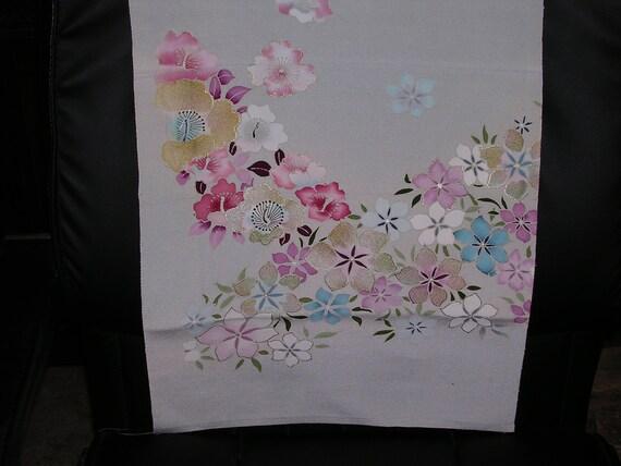 SAKURA  Vintage Japanese Kimono silk Cherry Blossoms  14 x 64 inches
