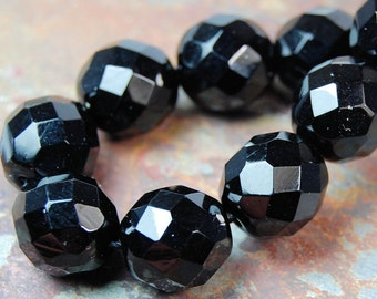 10mm Czech Beads Faceted  in Opaque Black -10