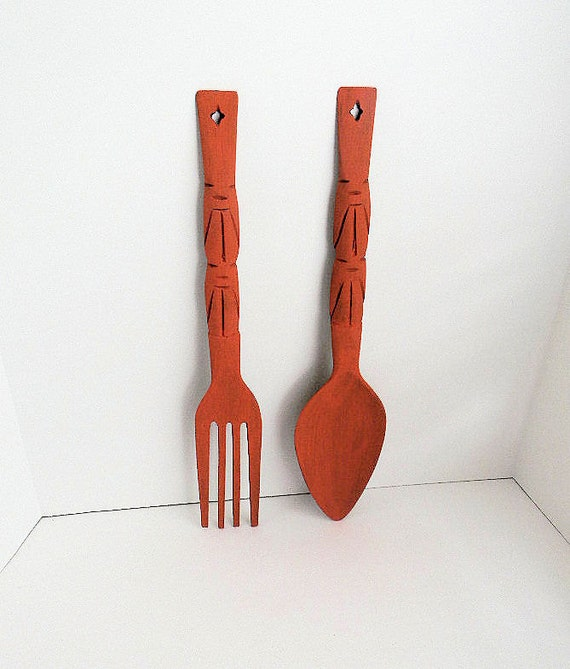 Upcycled Hand Painted Large Wooden Fork and Spoon - Kitschy Kitchen Decor
