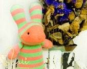 "Mali Sock Doll, Sock Rabbit, Orange Green Stripes Newborn Safe Sock Bunny, ""Fanta Babe"""