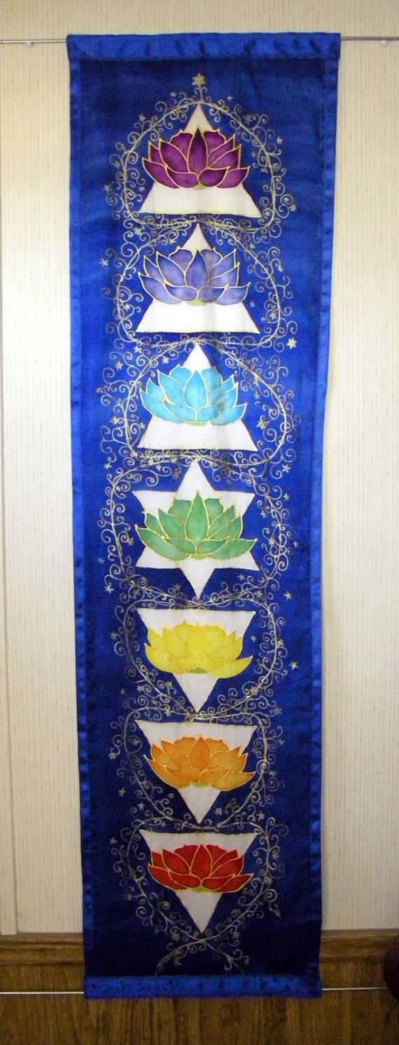 "Hand painted silk ""Chakra Balancing"" chakra art reiki art  silk art toga art"