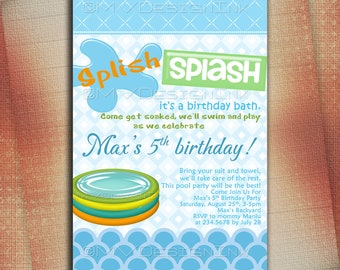 Pool Party Birthday Invitation, Pool Party Invite, Splish Splash Pool Birthday Party Invite, BBQ Pool Party Printable-DIY
