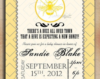 Baby Shower Mom To Bee Yellow Printable Invitation, Bumble Bee Baby Shower Invite - Digital File You Print