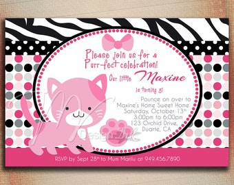 Pink Kitty Cat Birthday Invitation, Pretty Kitty Cat Birthday Invite, Kitty Cat Personalize Birthday Invite, Kitty Birthday Invite
