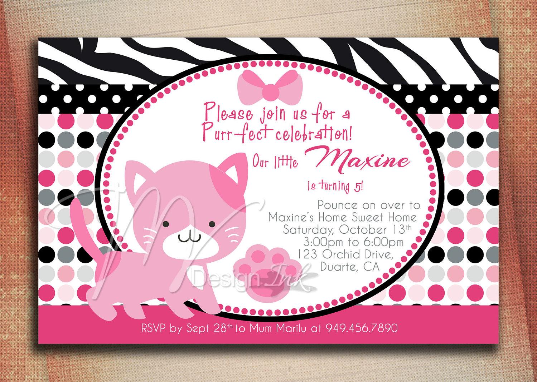 Pink Kitty Cat Birthday Invitation Pretty Kitty Cat Birthday – Cat Birthday Invitations