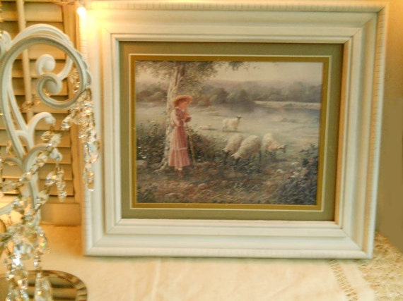 Vintage Victorian Framed Picture Of Shepardess And Her Sheep Home Decor Wall Hanging Antique Frame Shabby Farmhouse Prairie Cottage