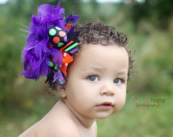 Over The Top Halloween Bow -- Itsy Bitsy Spider -- purple, black, orange and green