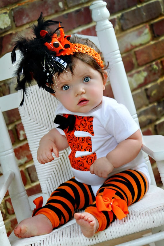 Baby Girl Halloween Outfit -- initial bodysuit, leg warmers and Over The Top bow -- black and orange