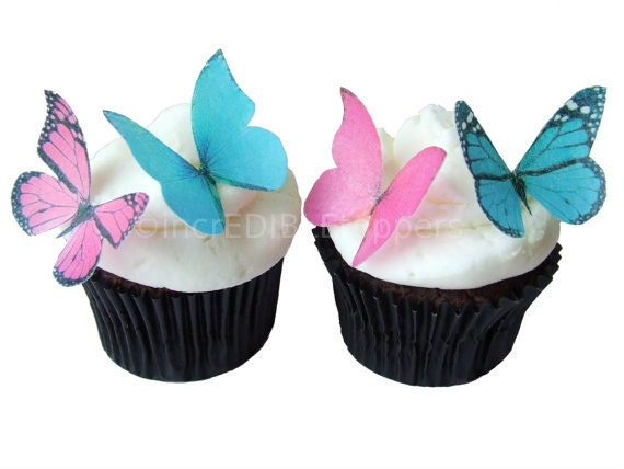 Edible Butterflies - CUPCAKE TOPPERS - Edible Butterflies in 24 Fuchsia and Turquoise - Cupcake Supply Shop, Cupcake Decorating