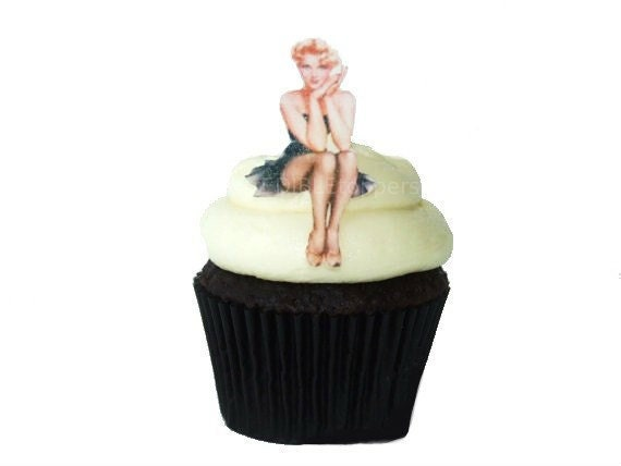 The Original Edible Pinup Girls -  12 Cupcake Toppers - Cake Topper , For Him , Bachelor , Pin Up - Sexy