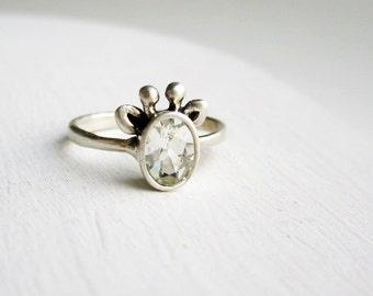 White Giraffe Ring, White Topaz and Sterling Silver