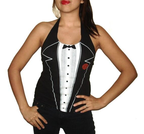 PLUS SIZE - Womens Punk Rock Las Vegas Tuxedo Custom Diy Halter Top / Shirt - Listing For Size 2XX