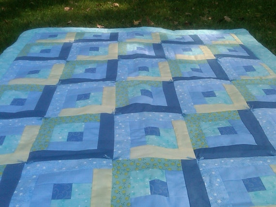 Hand Tied Baby Blue Log Cabin Crib Quilt