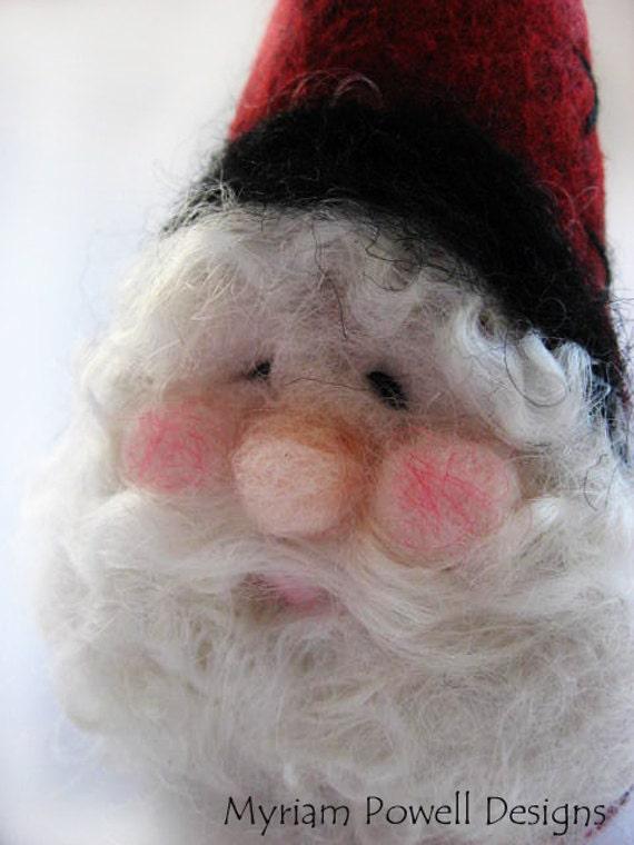 Christmas Ornament - Santa Ornament - Needle Felted Santa - Christmas Decor