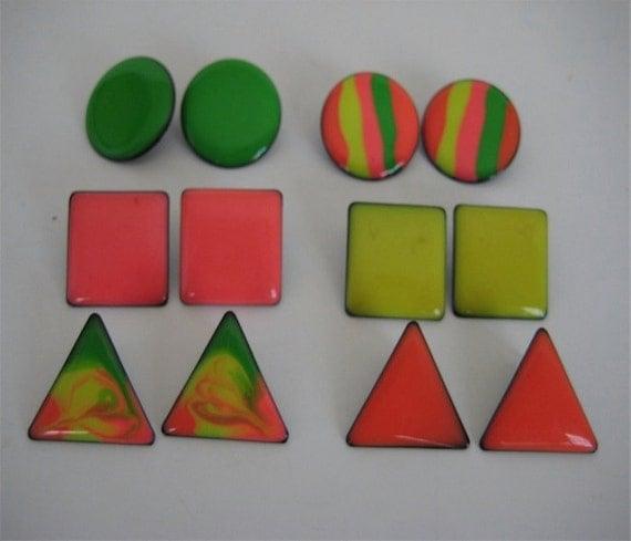 Neon Earrings Geometric Shapes 6 Pair