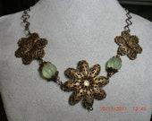 Flower Necklace of Brass Filigree