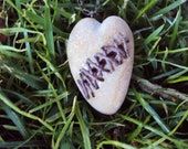 Broken heart mended rock stone carved stitched charm antiqued bronze necklace pendant