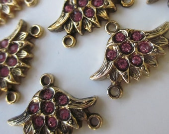 Vintage Rhinestone Pink  Flowery  Connector Beads