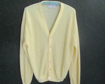 Vintage Yellow Grandpa Cardigan . Boyfriend Sweater . Button Down Sweater by Lord Jeff Large