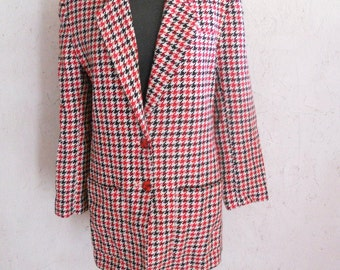 SALE Vintage Houndstooth Wool Blazar Red and Black by Paul Stanley Size S-M