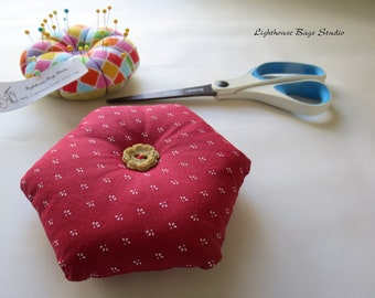 Hexagonal Pincushion - Vintage Red Fabric