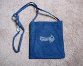 Blue denim cotton handpainted block printed paisley hip bag purse long strap