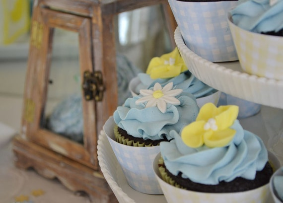 Country Garden / blue and yellow gingham (instant download)  party printable cupcake wrappers