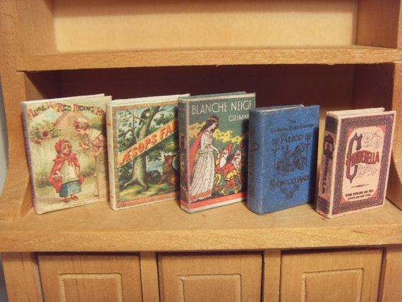 "The most famous ""fairy tales"" books collection - miniature 1:12 scale for dollhouses"