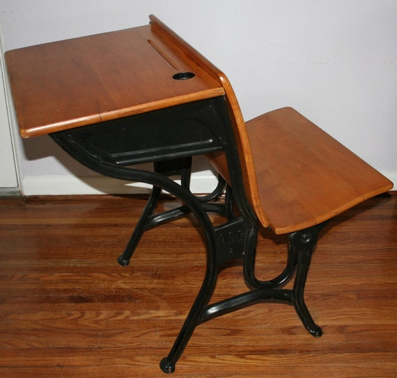 Vintage Antique Children's 1920s Wood & Iron Old Fashion School Desk Marked A.S. Co. 2 with Ink Well