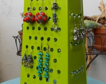 Earring Holder,Display,  Unique Re purposed surrealistic style object, Bright Green