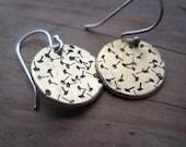 Brass Metal Stamped Dandelion Dangle Earrings with Sterling Silver Hooks