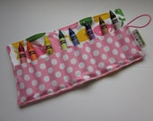 JUMBO TODDLER Crayon Roll, Urban Zoologie Whales in Spring with Candy Ta Dot, Holds 8 Jumbo Toddler Crayons, Ready to Ship