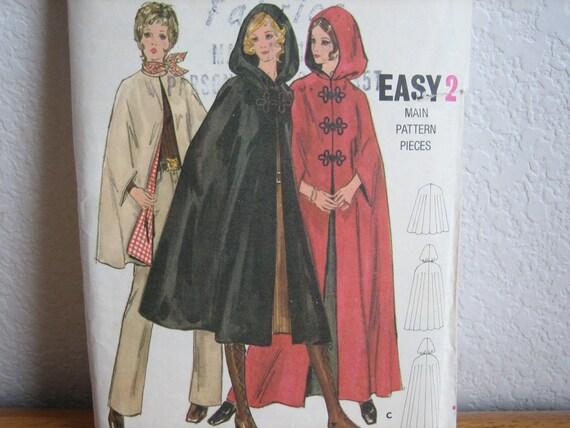 Vintage Butterick Pattern 5987 Misses' & Women's Cape 1970's  Uncut