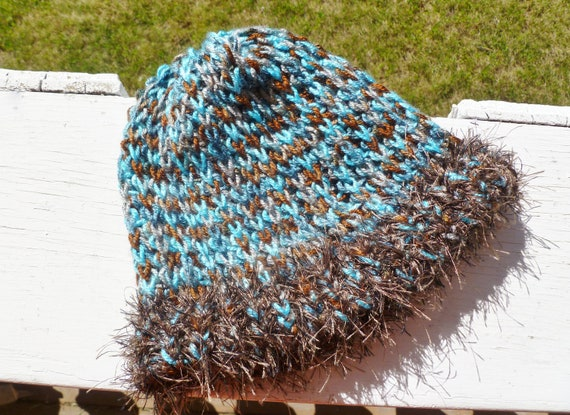 Loose Knit Women's Hat Stocking Cap in Turquoise and Brown