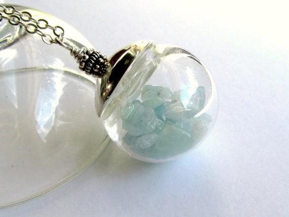 Aquamarine Birthstone Necklace : Aquamarine Necklace, March Birthstone Pendant, Keepsake Necklace, Gemstone Nuggets in Glass Globe