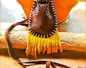Desert Twinkle Medicine Pouch-Upcycled Leather OOAK