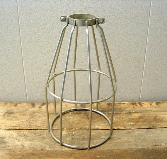 vintage mcgill industrial metal wire light bulb cage steampunk. Black Bedroom Furniture Sets. Home Design Ideas
