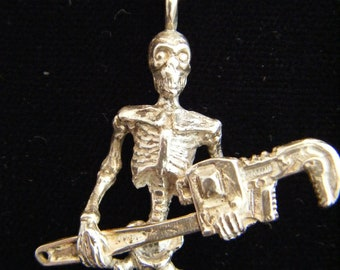 Steampunk Pipe Wrench Skeleton / steampunk jewelry / sterling silver / skull jewelry / witchcraft / unique / necklace / october