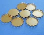 Brass Round Lace Edge Bezel Cups 15mm.