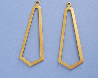 Raw Brass Stamping Geometrical Pendant 1 Hole.