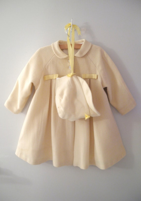 1940's Handmade Pale Yellow Wool Swing Coat and Bonnet