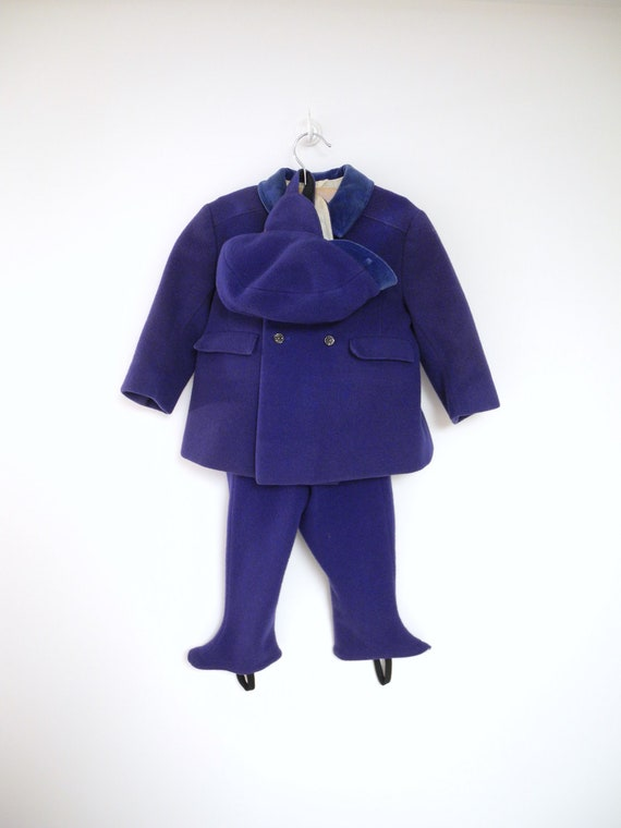 Turn of the Century Rare Hutzler's of Baltimore Royal Blue Wool and Velvet Coat, Pants and Cap Set
