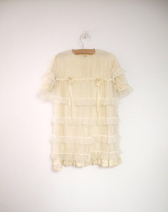 1909 Edwardian Handmade Cream Silk, Lace and Ruffle Dress