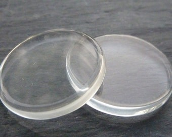 6 - 1 inch Round Clear Glass Flat Cabochon for Pendants, photos, cabochons, magnets or art 5 mm thick